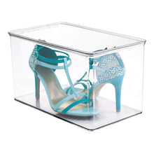 Load image into Gallery viewer, Shop here mdesign stackable closet plastic storage bin box with lid container for organizing mens and womens shoes booties pumps sandals wedges flats heels and accessories 7 high 6 pack clear