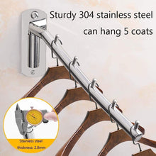 Load image into Gallery viewer, Organize with mulyeeh folding wall mounted clothes rack coat hanger stainless steel clothes hook with swing arm clothing hanging system closet storage organizer