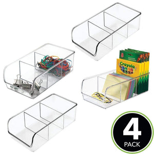 Discover the best mdesign divided plastic home office desk drawer organizer storage bin for cabinets closets drawers desktops tables workspaces holds pens pencils erasers markers 3 sections 4 pack clear