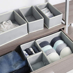 Storage tenabort 6 pack foldable drawer organizer dividers cloth storage box closet dresser organizer cube fabric containers basket bins for underwear bras socks panties lingeries nursery baby clothes gray