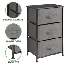 Load image into Gallery viewer, Explore mdesign vertical dresser storage tower sturdy steel frame wood top easy pull fabric bins organizer unit for bedroom hallway entryway closets textured print 3 drawers charcoal gray black