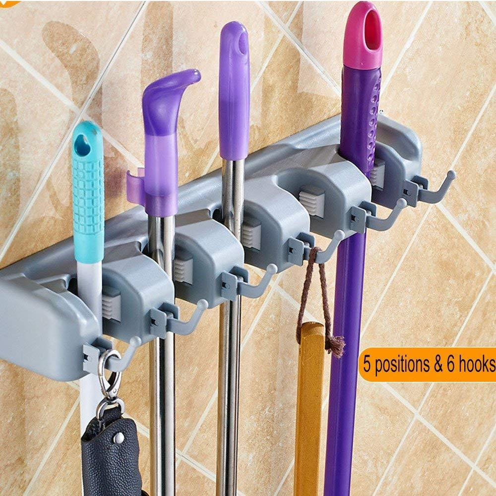 Bosszi Broom Holder & Mop Holder & Gardening Tools Organizer, Wall-Mounted Storage Racks with 5 Positions and 6 Hooks Holds Up to 11 Tools Firmly As Rake, Broom, Mop Handles, etc.