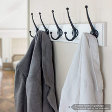 Load image into Gallery viewer, Kitchen arks royal heavy duty metal coat hook with ball ends thick long retro prong hat hook bath towel closet clothes hanger rail garment holder flat black 6 pcs
