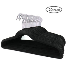 Load image into Gallery viewer, Buy topgalaxy z velvet suit hangers 20 pack closet clothes hangers non slip hangers for coat hanger pants hangers dorm hangers black