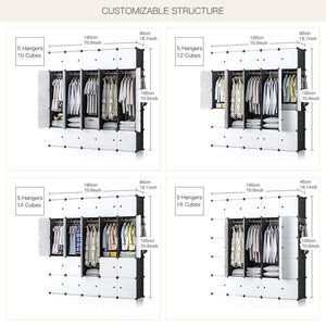 Home yozo modular wardrobe portable clothes closet garment rack polyresin storage organizer bedroom armoire cubby shelving unit dresser multifunction cabinet diy furniture black 25 cubes