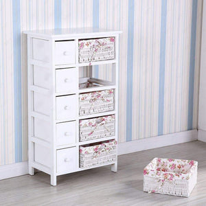 Featured durable dresser storage tower 5 drawers with wicker baskets sturdy frame wood top easy pulling organizer unit for bedroom hallway entryway closet white