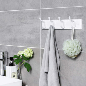 Buy songmics wooden wall mount coat rack with 4 metal hooks 16 inch coat hook rail for hallway bathroom closet room white ulhr23wt