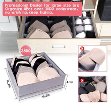 Load image into Gallery viewer, Shop for drawer organizer dresser drawer organizer divider washable large bra sock underwear tie cloth organizer foldable closet storage box drawer polyester fabric for baby cloth panties belts set of 4 gray