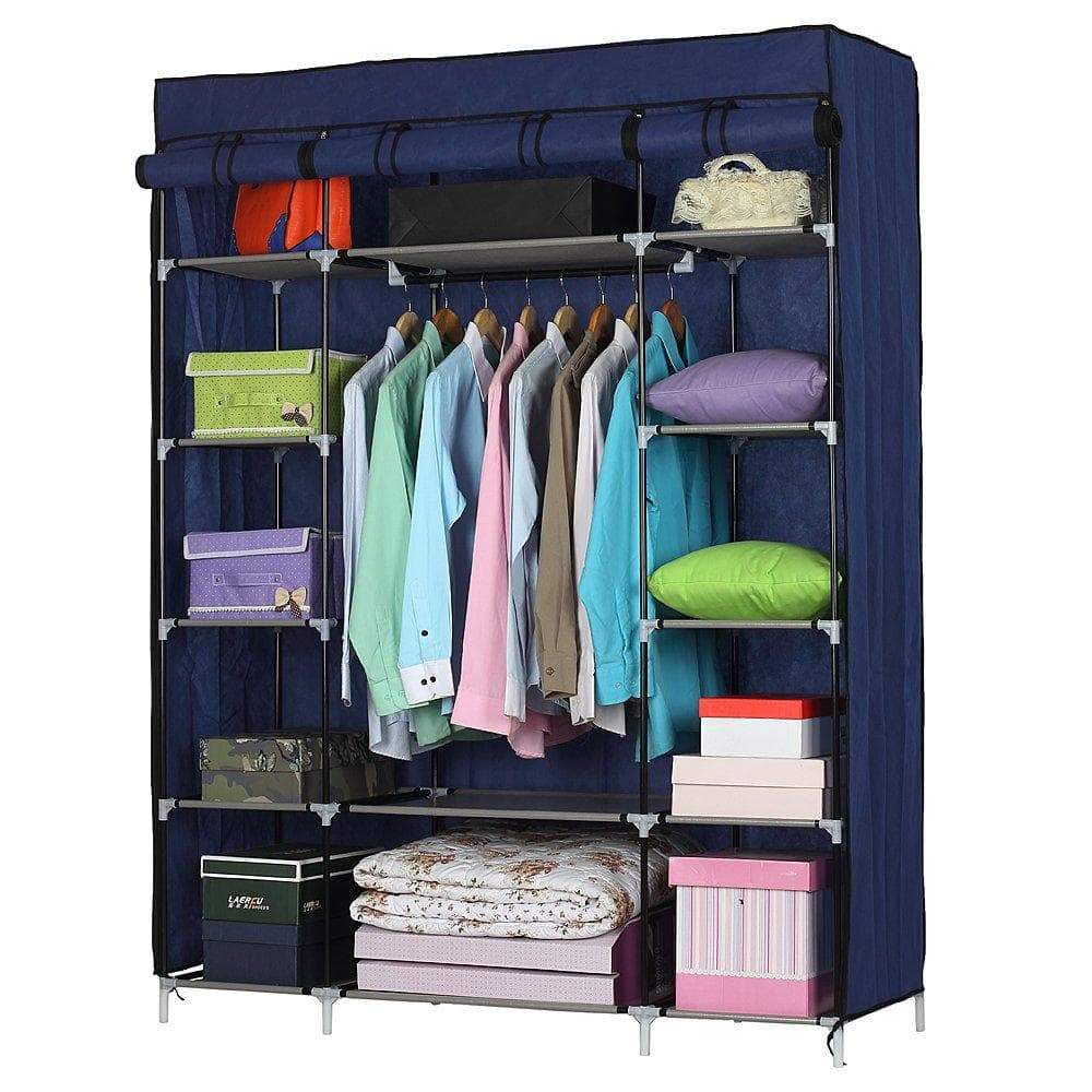 Amazon halffle closet storage organizer 5 layer 12 compartment non woven fabric wardrobe portable clothes closet shelves with metal shelves and dustproof non woven fabric cover us stock navy blue