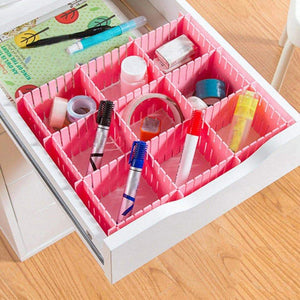 Latest newferu plastic desk diy grid drawer dividers adjustable tidy closet shelf storage organizers for purses ties tshirts pens bras sock underwear scarves makeup kitchen cutlery flatware 40pcs pink
