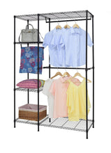 Load image into Gallery viewer, Latest finnhomy heavy duty wire shelving garment rack for closet organizer portable clothes wardrobe storage with adjustable shelves and hangers thicken steel tube black