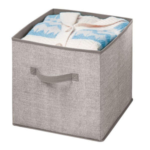Order now mdesign large soft fabric closet home storage organizer cube bin box front handle storage for closet bedroom furniture shelving units textured print 12 75 high 2 pack linen tan