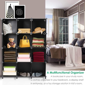 Buy now tomcare cube storage 12 cube bookshelf closet organizer storage shelves shelf cubes organizer plastic book shelf bookcase diy square closet cabinet shelves for bedroom office living room black