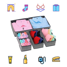 Load image into Gallery viewer, Discover the best onlyeasy foldable cloth storage box closet dresser drawer organizer cube basket bins containers divider with drawers for scarves underwear bras socks ties 6 pack linen like grey mxdcb6p