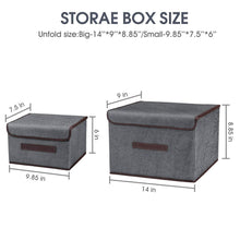 Load image into Gallery viewer, Kitchen foldable storage boxes with lids 2 set of linen fabric cubes with handles for shelf closet book kid toy nursery organize grey