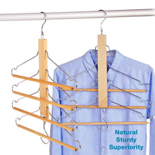 Load image into Gallery viewer, Top bestool pants hangers wooden pant hangers non slip wood hangers clothes hangers for closet space saving heavy duty coat hanger huggable baby hangers dual use trouser hanger