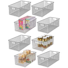 Load image into Gallery viewer, Heavy duty mdesign farmhouse decor metal wire food organizer storage bin basket with handles for kitchen cabinets pantry bathroom laundry room closets garage 16 x 9 x 6 in 8 pack graphite gray