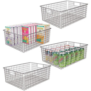 New mdesign farmhouse decor metal wire food organizer storage bin baskets with handles for kitchen cabinets pantry bathroom laundry room closets garage 4 pack graphite gray