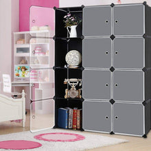 Load image into Gallery viewer, Heavy duty robolife 12 cubes organizer diy closet organizer shelving storage cabinet transparent door wardrobe for clothes shoes toys