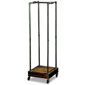 Shop whw whole house worlds the industrial chic coat rack rolling garment holder castors metal pipes with lacquer finish wood base 5 ft tall 60 1 4 inches mobile closet