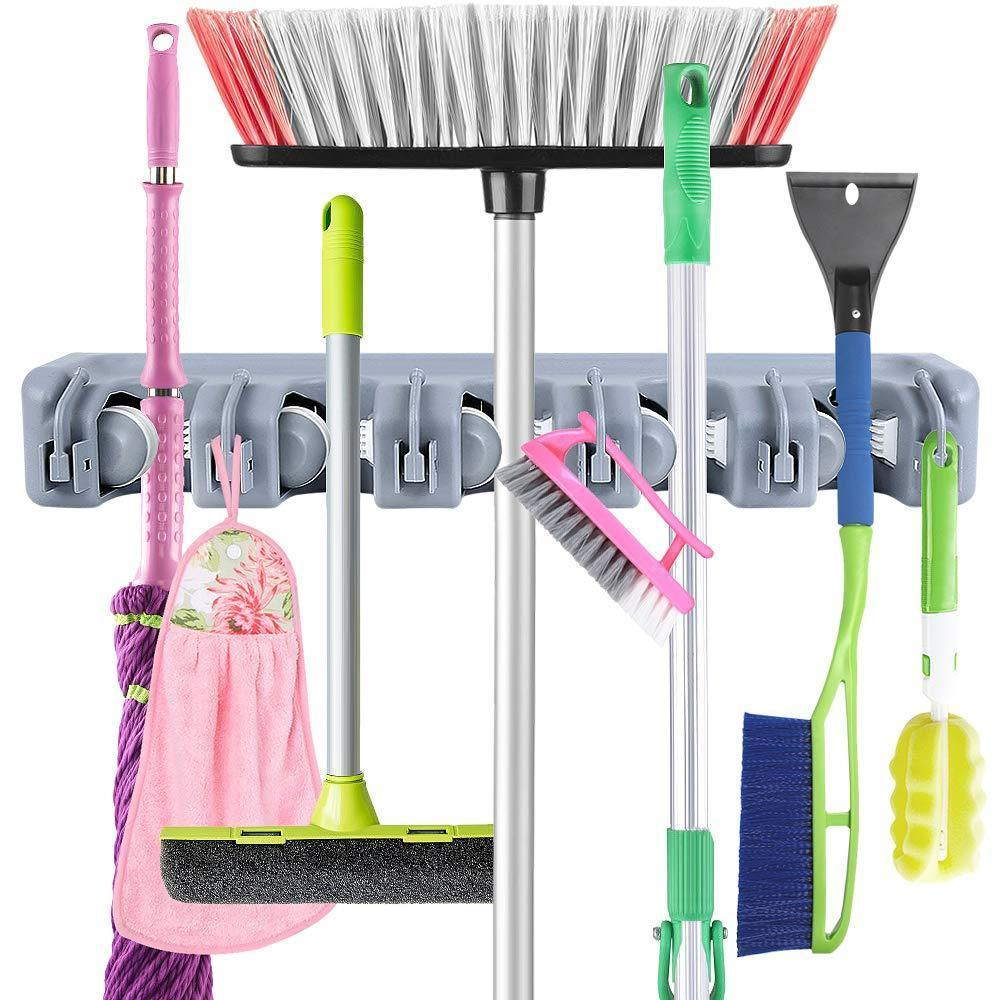 JOSHNESE Mop Broom Holder, Broom Hanger with 5 Positions and 6 Hooks, Wall Mounted Broom Organizer Home Tools Storage Rack for Kitchen Garden and Garage