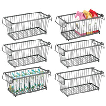 Load image into Gallery viewer, Great mdesign household stackable metal wire storage organizer bin basket with built in handles for kitchen cabinets pantry closets bedrooms bathrooms 12 5 wide 6 pack graphite gray