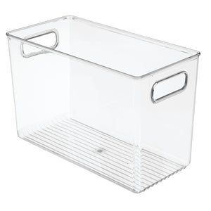 Save mdesign deep plastic home storage organizer bin for cube furniture shelving in office entryway closet cabinet bedroom laundry room nursery kids toy room 12 x 6 x 7 75 8 pack clear