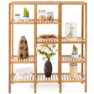 Amazon best costway multifunctional bamboo shelf bathroom rack storage organizer rack plant display stand w several cell closet storage cabinet 5 tier