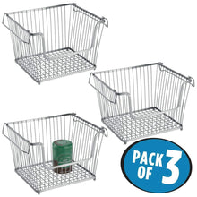 Load image into Gallery viewer, Heavy duty mdesign modern stackable metal storage organizer bin basket with handles open front for kitchen cabinets pantry closets bedrooms bathrooms large 3 pack silver