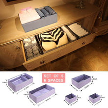 Load image into Gallery viewer, Home drawer organizer clothes dresser underwear organizer washable deep socks bra large boxes storage foldable removable dividers fabric basket bins closet t shirt jeans leggings nursery baby clothing gray