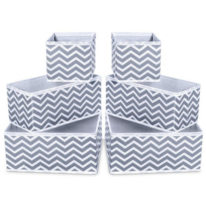 Home storage bins ispecle foldable cloth storage cubes drawer organizer closet underwear box storage baskets containers drawer dividers for bras socks scarves cosmetics set of 6 grey chevron pattern