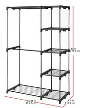 Load image into Gallery viewer, Shop for whitmor freestanding portable closet organizer heavy duty black steel frame double rod wardrobe cloths storage with 5 shelves shoe rack for home or office size 45 1 4 x 19 1 4 x 68