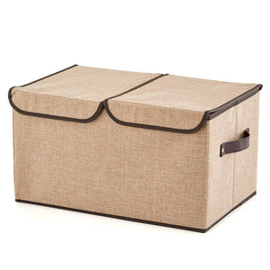 Heavy duty ezoware large lidded storage boxes 4 pack linen fabric foldable cubes bin box containers with lid handles for home office nursery toys closet bedroom living room assorted color