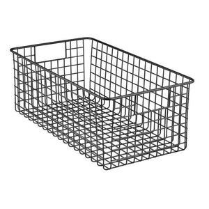 Best seller  mdesign farmhouse decor metal wire food organizer storage bin basket with handles for kitchen cabinets pantry bathroom laundry room closets garage 16 x 9 x 6 in 8 pack matte black