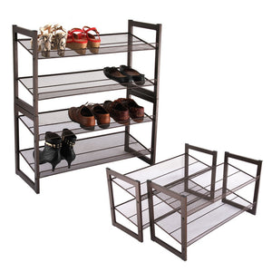 Discover the best rackaphile 4 tier stackable metal shoe rack mesh utility shoe storage organizer shelf for closet bedroom entryway 32 3 28 9 12 bronze