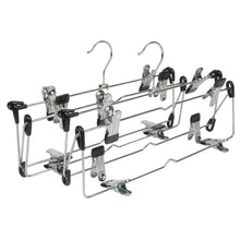 Load image into Gallery viewer, Save lohas home 4 tier skirt hangers pants hangers closet organizer stainless steel fold up space saving hangers 2 pieces
