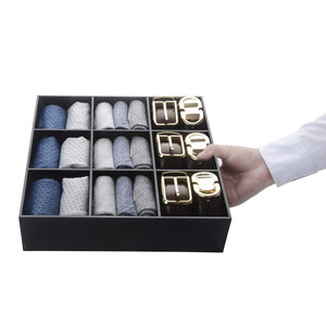 Selection luxury and stylish acrylic organizer fine and elegant gift keep belts socks ties underwear panties briefs boxers scarves organized drawer divider closet and storage box