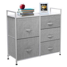 Load image into Gallery viewer, Top kingso fabric 5 drawer dresser storage tower organizer unit with sturdy steel frame and easy pull faux linen drawers for bedroom living room guest room dorm closet grey