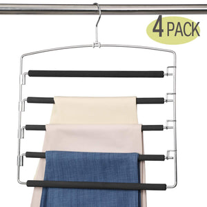 Save meetu pants hangers 5 layers stainless steel non slip foam padded swing arm space saving clothes slack hangers closet storage organizer for pants jeans trousers skirts scarf ties towelspack of 4