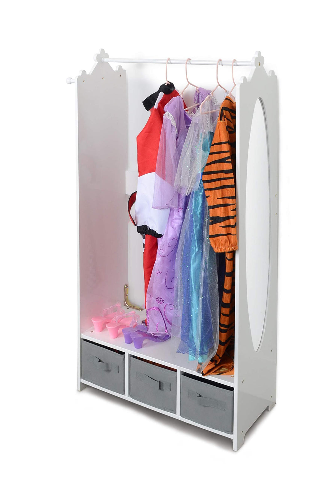 Amazon milliard dress up storage kids costume organizer center open hanging armoire closet unit furniture for dramatic play with mirror baskets and hooks
