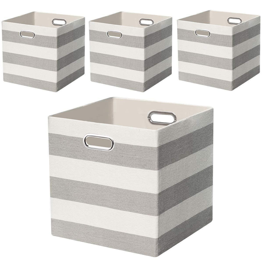 Heavy duty posprica storage bins storage cubes 13 13 fabric storage boxes baskets containers drawers for nurseries offices closets home decor 4pcs grey white striped