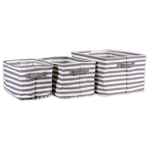 Discover the dii cabana stripe collapsible waterproof coated anti mold cotton rectangle basket bin perfect for laundry room bedroom nursery dorm closet and home organization assorted set of 3 gray
