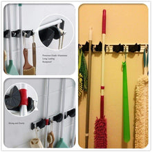 Load image into Gallery viewer, Buy now gwhole mop and broom holder 4 position 5 hooks wall mount rack for home closet garden garage and shed