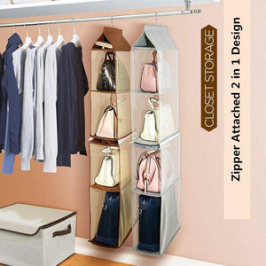 Related zaro 2 in 1 hanging shelf garment organizer for bags clothes 4 shelves practical closet purse storage collapsible space saver accessory breathable mesh net with hooks hanger easy mount gray
