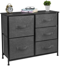 Load image into Gallery viewer, Explore sorbus dresser with 5 drawers furniture storage tower unit for bedroom hallway closet office organization steel frame wood top easy pull fabric bins black charcoal