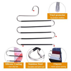 Discover ieoke pant hangers durable slack hangers multi layers stainless steel space saving clothes hangers closet storage for jeans trousers 4 pack