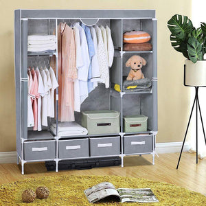 Save on portable clothes closet canvas wardrobe closet huge free standing clothes organizer storage with hanging rod dust proof cover 67x58x17 7 inch