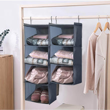 Load image into Gallery viewer, Results ishealthy hanging closet organizer and storage 4 shelf easy mount foldable hanging closet wardrobe storage shelves clothes handbag shoes accessories storage washable oxford cloth fabric gray