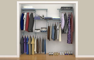 Select nice closetmaid 78809 shelftrack 5ft to 8ft adjustable closet organizer kit satin chrome