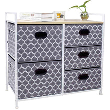 Load image into Gallery viewer, Top wide dresser storage tower 5 drawer chest sturdy steel frame wood top easy pull fabric bins organizer unit for bedroom playroom entryway closets lantern printing gray white